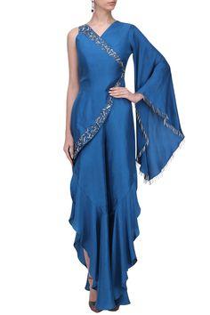 Paper Silk Hand Work Blue One Sleeve Harem Style Dress Western Dresses, Indian Dresses, Indian Outfits, Stylish Dress Designs, Stylish Dresses, Fashion Dresses, Drape Gowns, Draped Dress, Best Designer Dresses