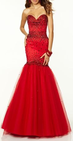 Red Sequins Evening Mermaid Prom Dress