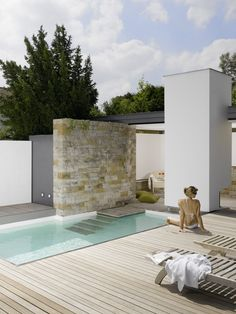 A small backyard pool at a home in Stuttgart, Germany.