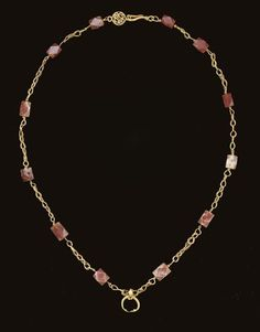 A ROMAN GOLD AND CARNELIAN NECKLACE CIRCA 1ST-2ND CENTURY A.D.  Visit Renaissance Fine Jewelry in Brattleboro, Vermont for the largest vintage and antique jewelry collection in Vermont!