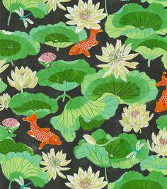 Home Decor Print Fabric- Waverly Lotus Lake Ebony