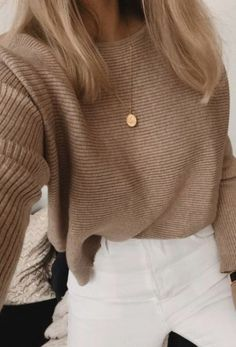 cableknit sweater + gold disc necklace + white pants outfit blonde hair ideas best fall and winter outfits for teens casual everyday outfits for teens Edgy Outfits, Cute Outfits, Fashion Outfits, Fashion Clothes, Denim Outfits, Black Outfits, Work Outfits, Look Fashion, Teen Fashion