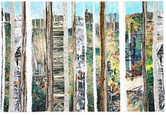 Sandra Meech - collaged trees Collage, Suitable for a photography or textiles project Collage Landscape, Creative Landscape, Tree Collage, Collage Art, Nature Collage, Collages, A Level Textiles, Creative Textiles, A Level Art