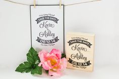 What better way to share your wonderful news than with beautiful hand stamped save the dates? This modern save the date stamp proudly features the
