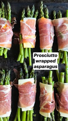 Prosciutto Wrapped Asparagus You Want To Make This Spring - Rainbow Scrumptious. All that you must do is wrap a small bundle of delicate asparagus with a small slice of provolone cheese and prosciutto, Healthy Snacks, Healthy Eating, Healthy Recipes For Lunch, Healthy Food Prep, Healthy Delicious Recipes, Dinner Ideas Healthy, Healthy Foods To Make, Clean Eating Recipes For Dinner, Eating Clean
