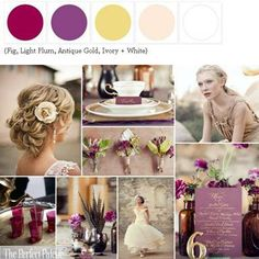 {Autumn Elegance}: A Palette of Fig, Light Plum, Antique Gold, Ivory + White