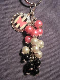 Pink Black and White Glass Bead Purse Charm / Key Chain by FoxyFundanglesByCori, $10.00