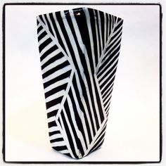 Extra Large Square Vase with graphic black and white by Mayware