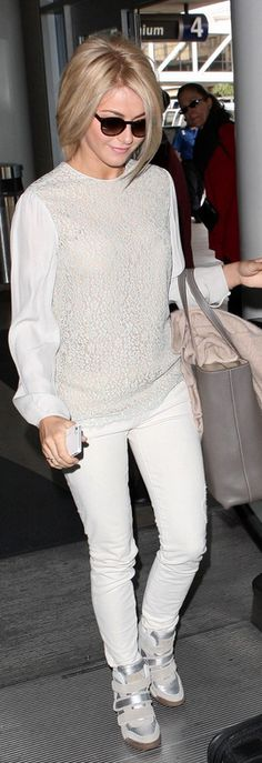 Wedge sneakers and white lace top: I passed on white wedge sneakers but I think I NEED them now...
