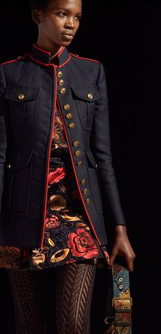 A regimental jacket with hand-placed piping, styled with a metallic navy  floral jacquard shirt dress, The Buckle Boot and The Patchwork bag e2522be9431f