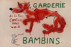 maquette, couleur rouge à la bombe et sérigraphie. Signée dans le bas eG (voir http://gallica.bnf.fr/ark:/12148/bpt6k6532558s/f80.image)