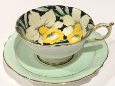 Paragon Tea Cup and Saucer, Hand Painted Cups,Daffodil Chintz Cups, Tea Set, Antique Tea Cups, English Bone China Cups, Yellow Flower Cups