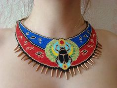 Egyptian scarab beetle necklace seed beaded necklace Red blue egyptian symbols necklace animal insect necklace ethnic talisman necklace The size of the central part of the necklace: length / inches height / inches Ancient Egyptian Jewelry, Egyptian Scarab, Egyptian Symbols, Cat Necklace, Seed Bead Necklace, Seed Beads, Beaded Choker, Beaded Earrings, Beaded Necklaces