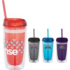 This women's tumbler has a fashion friendly twist on the vortex.  Some like it hot & some like it cold with this lid you can have both.  Three rows of bling add to the flare with attractive on trend colors.  Double-wall acrylic body with push-on thumb-slide lid.  For hot and cold beverages.  Acrylic straw with stopper for cold beverages.  BPA free.  16 oz.  Manufactured By Leeds.