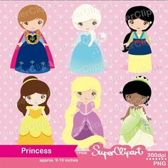 Princess Digital Clipart set includes 6 cute characters graphics.  Perfect for all kinds of creative projects!  ::::::::Details:::::::: ‧This is a