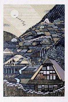 Yamazato -- MORIMURA Ray by kayla Katsushika Hokusai, Kuniyoshi, Woodblock Print, City Photo, Wood Engraving