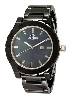 Oniss ON8174-M/BK Men's Big Black Watch Mother-of-Pearl