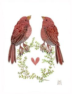 blushing birds no. 2 by Golly Bard