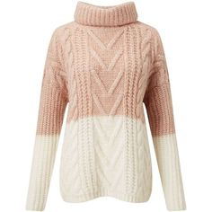Miss Selfridge Pink And Cream Cable Chunky Knitted Jumper (1 305 UAH) ❤ liked on Polyvore featuring tops, sweaters, shirts, jumpers, pink, cable knit sweaters, acrylic sweater, cream sweater, chunky cream sweater and cream shirt