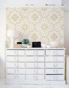 Classic Spanish, Portuguese, European Design - Lisboa Tile Wall Stencils for Painting Accent Wall - Royal Design Stuio