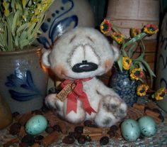 "Primitive Fuzzy Teddy Polar Bear 6"" Doll Vtg Patti's Ratties Easter Spring Cub"