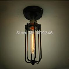 [Visit to Buy] Retro Loft Style Edison Industrial Vintage Flush Mount Ceiling Light Lamp Indoor Lighting,Luminaria De Teto Lamp Light, Light Bulb, Wall Lights, Ceiling Lights, Loft Style, Brass Color, Vintage Industrial, Retro Vintage, Vintage Style