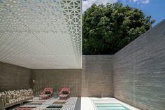 Aigai Spa by figueroa.arq located in Vila Madalena, São Paulo, Brazil. The Spa is designed as an urban oasis. A place of meditation, serenity, and relaxation. Contemporary Architecture, Interior Architecture, Shadow Architecture, Spa Design, House Design, Elements Of Design, Hotel Spa, Pool Designs, Hotels And Resorts