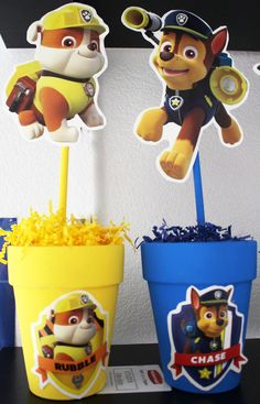 DIY paw patrol centre pieces