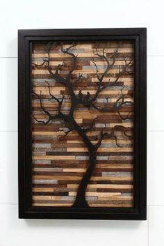 Metal on wood! Reclaimed wood art.