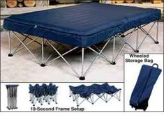 """""""Air Matress Frame"""" and Bed. The perfect bed for camping, especially for those with disabilities, mobility issues, older folk, and more. No issues with a second layer of mattress losing air or popping with a solid frame."""