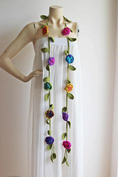 Rose Scarf-Necklace Lariat Scarf-Blue Mustard Yellow Purple