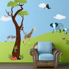 Amazon.com: Jungle Wall Stickers for Baby Room - Repositionable & Removable Jungle Theme Wall Decals: Home Improvement