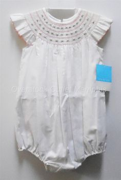 Anavini Girls Hand Smocked White 1pc Romper 18M Embroidered Pink Flowers NWT #Anavini