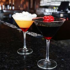Introducing The Candy Corn and The Black Widow. Check out our Facebook LIVE for a behind the scenes look at how to make these Halloween-themed cocktails! 🕸🍸