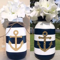 Mason Jar Crafts – How To Chalk Paint Your Mason Jars - Mintain Wine Bottle Crafts, Mason Jar Crafts, Mason Jar Diy, Chalk Paint Mason Jars, Painted Mason Jars, Bottle Painting, Bottle Art, Mason Jar Flowers, Nautical Wedding