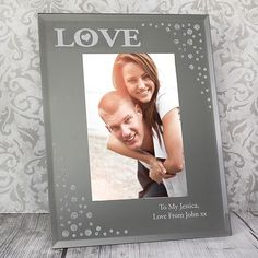 You can personalise this Diamante Glass Frame with any message over 2 lines of up to 25 characters per line The word LOVE is fixed All