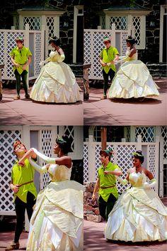 Peter Pan and Tiana. hmm perhaps reinact your fav disney princess wedding! Disney Memes, Disney Parks, Walt Disney World, Funny Disney, Peter Pan Disney World, Disney Love, Disney Magic, Disney Stuff, Disney And Dreamworks