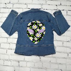 Reclaimed Upcycled 90s Retro Daisy Reclaimed Upcycled Denim Jacket Alien Backpatch Punk Rock
