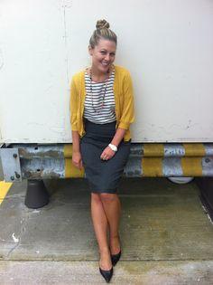 mustard cardigan, striped tee, grey pencil skirt workclothesisuppose.blogspot.com