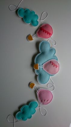 Lovely pink hot air balloons garland made from 100% wool felt