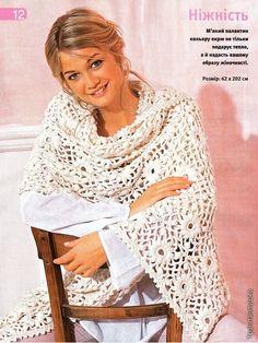 Crochet Shawls: Crochet Shawl Wrap With Free Pattern - Beautiful Motif Crochet Shawl Free, Crochet Cape, Crochet Shawls And Wraps, Crochet Scarves, Crochet Clothes, Knit Crochet, Crocheted Scarf, Irish Crochet, Shawl Patterns
