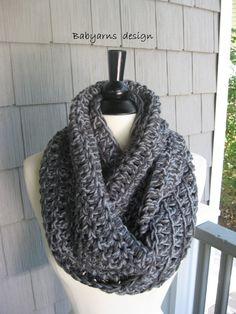 Winter Circle Scarf Cowl Neckwarmer Wrap Grays Fashion by Malasa