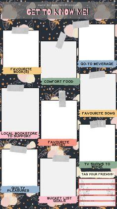 Instagram Games, Book Instagram, Instagram Story Template, Instagram Story Ideas, Instagram Templates, About Me Template, Book Review Template, Instagram Story Questions, Blog Backgrounds