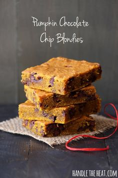 Rich and chewy pumpkin chocolate chip blondies will make your house smell better than any candle while they're baking!