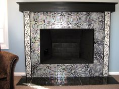 Glass Mosaic Fireplace