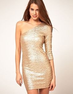 TFNC Sequin Dress with One Sleeve - StyleSays