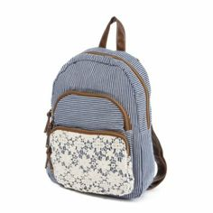 Striped Backpack with Floral Crochet Detail At Claire's
