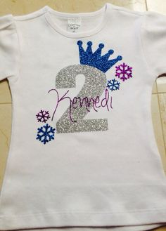 Frozen Birthday Glitter Vinyl Tee Shirt By BluejeanBabyMonogram