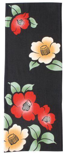 PRAIRIEDOG WAFUKA Tenugui Chusen Camelia Garden Japanese Fabric, Fabric Patterns, Things To Buy, Towel, Traditional, Garden, Cloth Patterns, Garten, Lawn And Garden