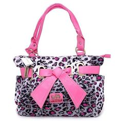 Coach New Baby Bag Leopard Bow Tie Large Tote Rosa.